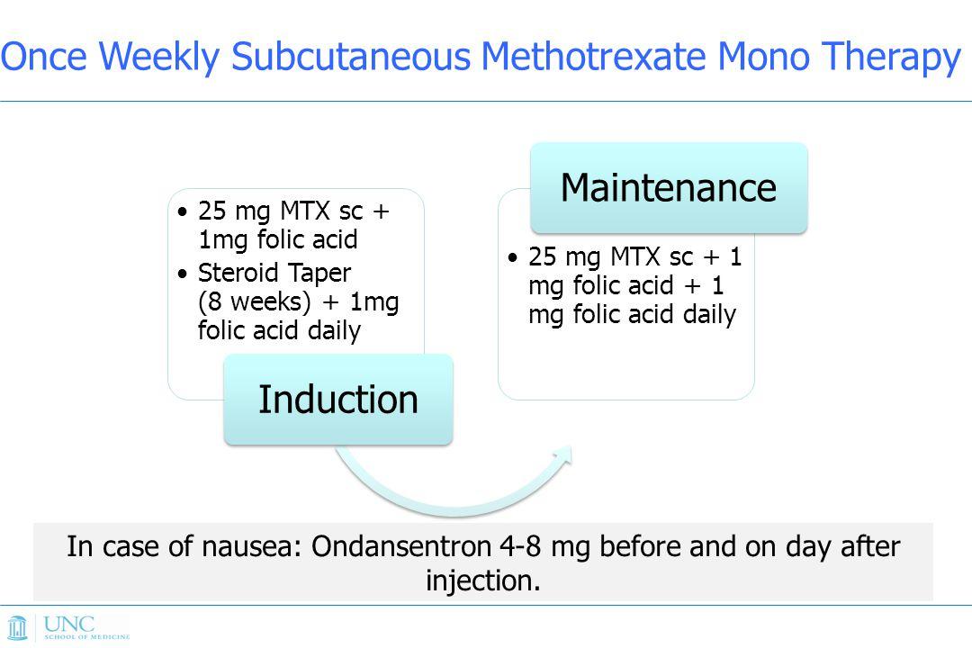 25 mg MTX sc + 1mg folic acid Steroid Taper (8 weeks) + 1mg folic acid daily Induction 25 mg MTX sc + 1 mg folic acid + 1 mg folic acid daily Maintena