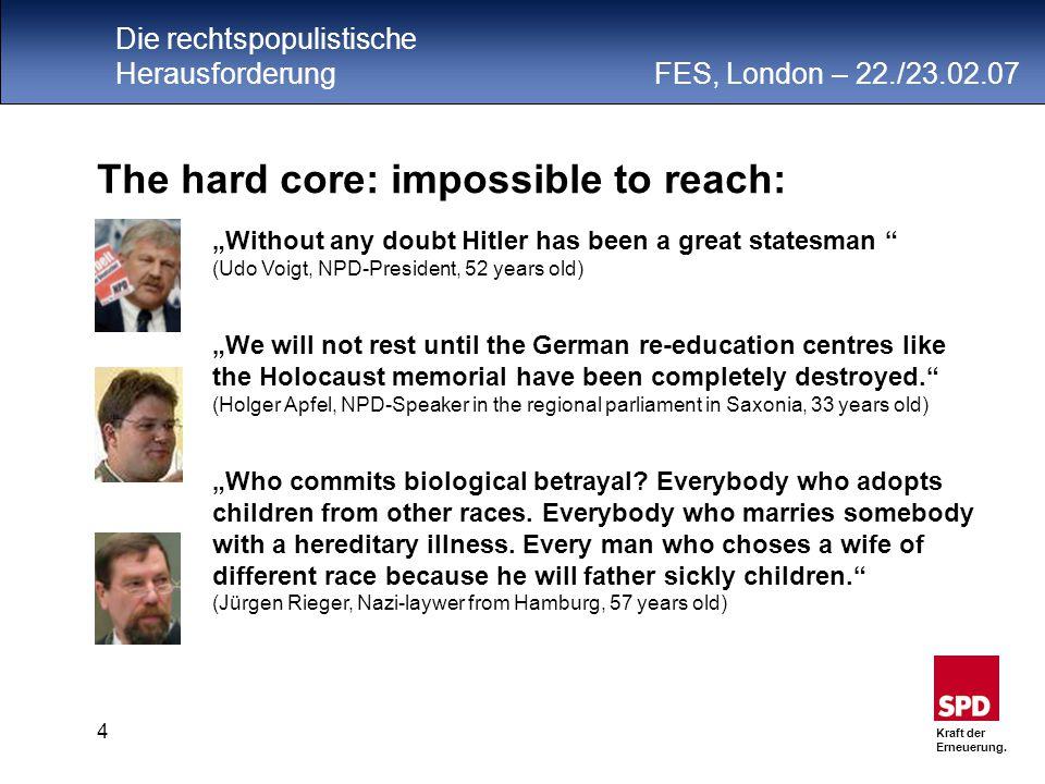 Die rechtspopulistische Herausforderung FES, London – 22./23.02.07 Kraft der Erneuerung.