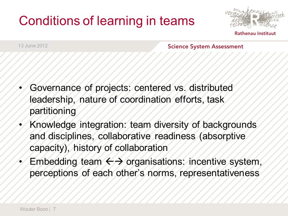 DATUM13 June 2012 Conditions of learning in teams Governance of projects: centered vs.