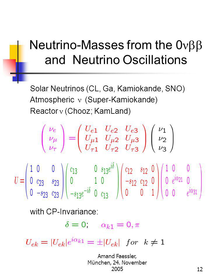 Amand Faessler, München, 24. November 200511 Effective Majorana Neutrino-Mass for the 0  Decay CP Tranformation from Mass to Flavor Eigenstates
