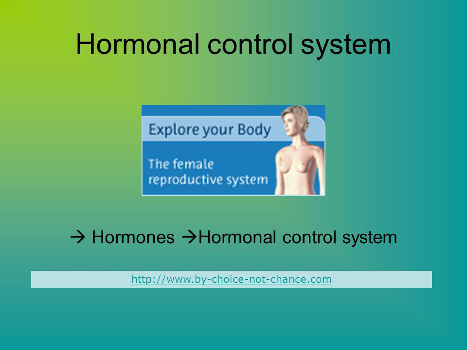 Hormonal control system  Hormones  Hormonal control system http://www.by-choice-not-chance.com