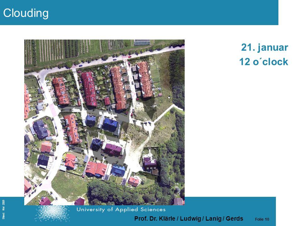Prof. Dr. Klärle / Ludwig / Lanig / Gerds Folie 10 Stand: Mai 2005 21. januar 12 o´clock Clouding