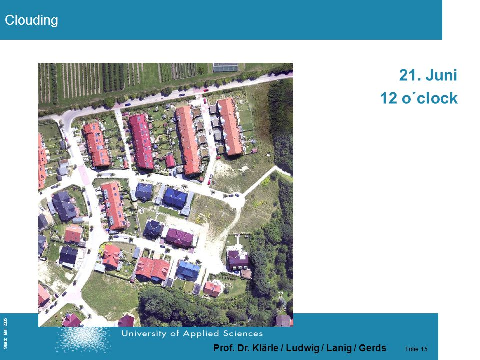 Prof. Dr. Klärle / Ludwig / Lanig / Gerds Folie 15 Stand: Mai 2005 21. Juni 12 o´clock Clouding