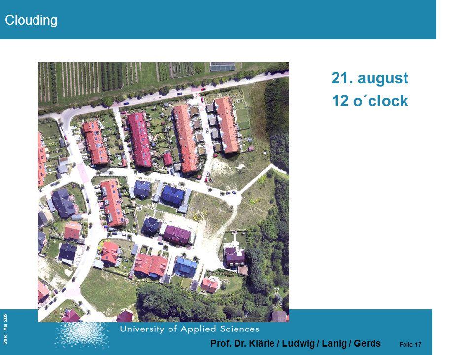Prof. Dr. Klärle / Ludwig / Lanig / Gerds Folie 17 Stand: Mai 2005 21. august 12 o´clock Clouding