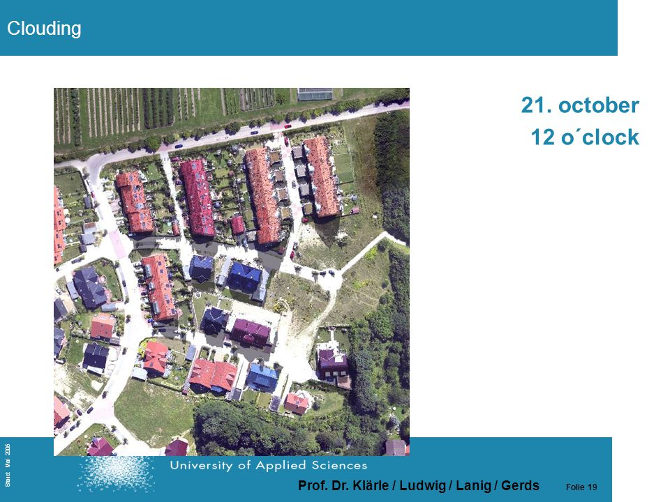 Prof. Dr. Klärle / Ludwig / Lanig / Gerds Folie 19 Stand: Mai 2005 21. october 12 o´clock Clouding