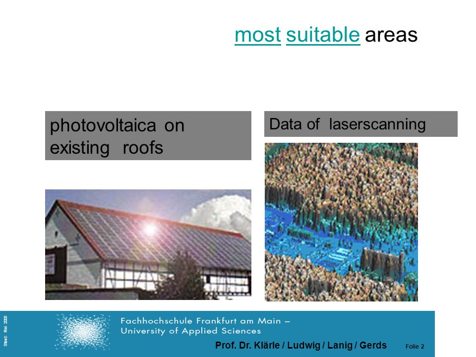 Prof. Dr. Klärle / Ludwig / Lanig / Gerds Folie 2 Stand: Mai 2005 Data of laserscanning photovoltaica on existing roofs Das Thema mostmost suitable ar