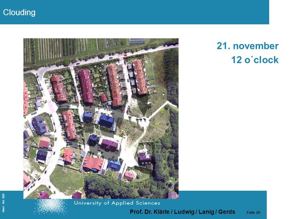 Prof. Dr. Klärle / Ludwig / Lanig / Gerds Folie 20 Stand: Mai 2005 21. november 12 o´clock Clouding
