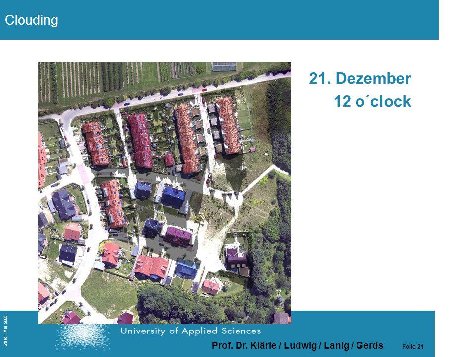 Prof. Dr. Klärle / Ludwig / Lanig / Gerds Folie 21 Stand: Mai 2005 21. Dezember 12 o´clock Clouding
