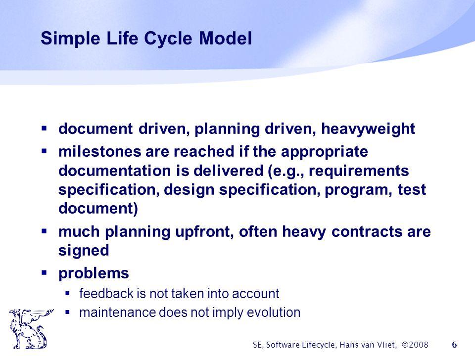 SE, Software Lifecycle, Hans van Vliet, ©2008 7 Waterfall Model reqs engineering design implementation testing maintenance V & V