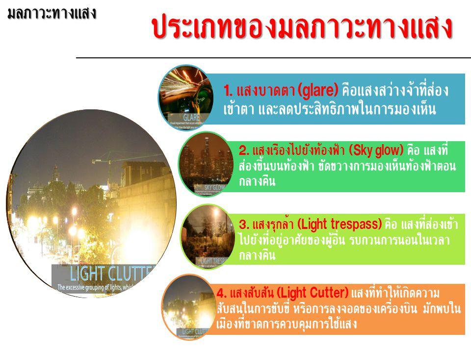1. แสงบาดตา (glare) คือแสงสว่างจ้าที่ส่อง เข้าตา และลดประสิทธิภาพในการมองเห็น 2.