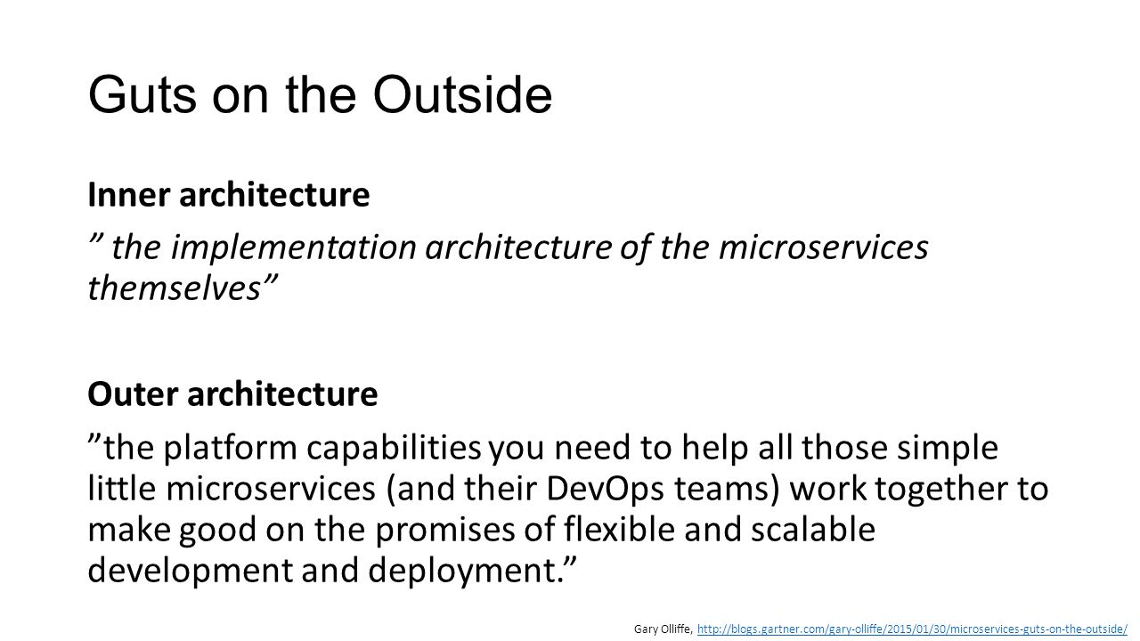 """Guts on the Outside Inner architecture """" the implementation architecture of the microservices themselves"""" Outer architecture """"the platform capabilitie"""