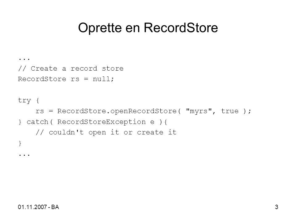 01.11.2007 - BA3 Oprette en RecordStore...