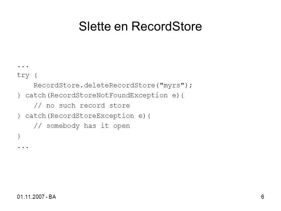 01.11.2007 - BA6 Slette en RecordStore...
