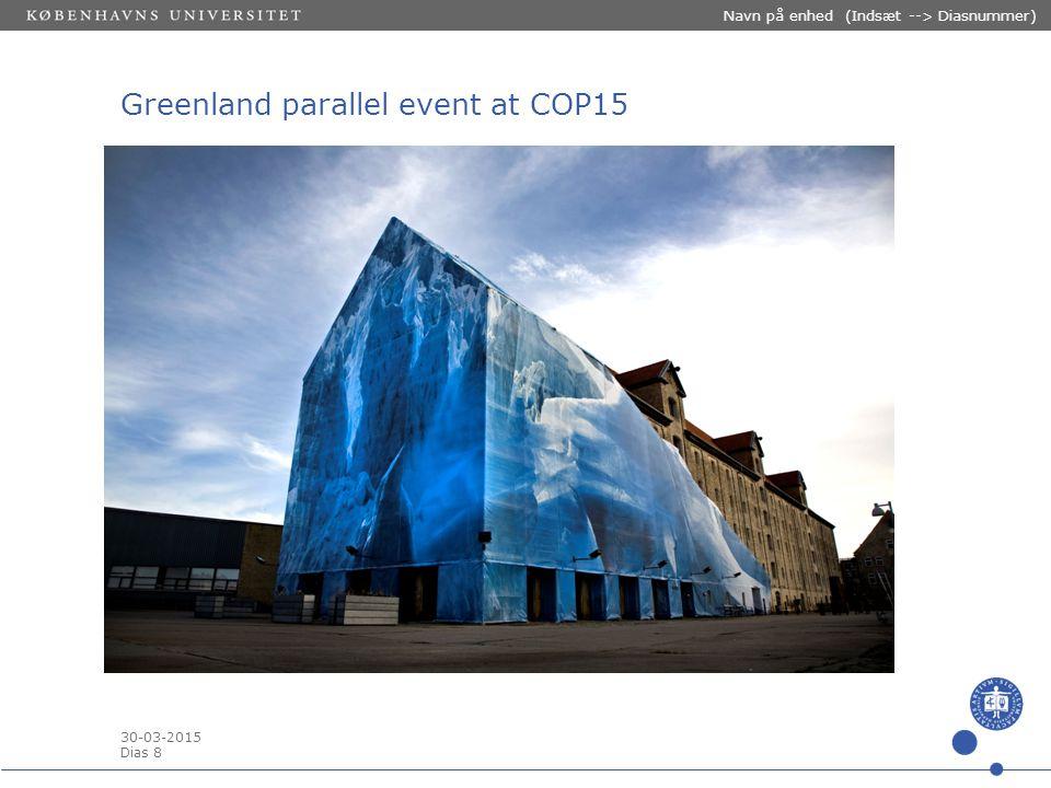 30-03-2015 Dias 8 Navn på enhed (Indsæt --> Diasnummer) Greenland parallel event at COP15