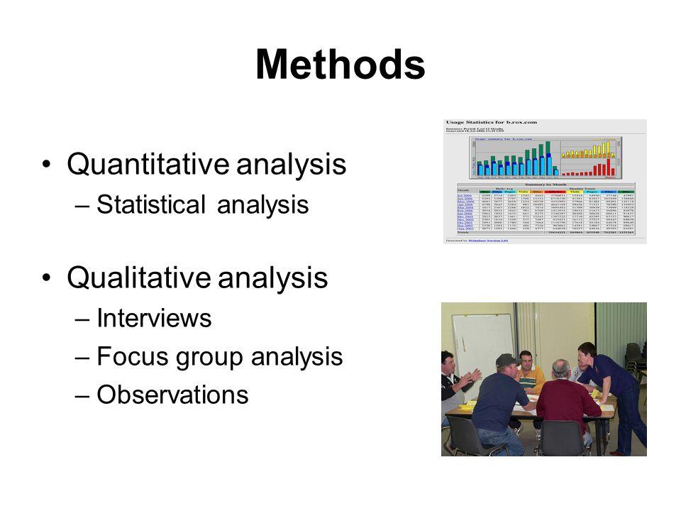 Methods Quantitative analysis –Statistical analysis Qualitative analysis –Interviews –Focus group analysis –Observations