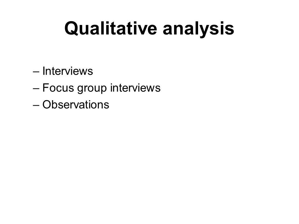 Qualitative analysis –Interviews –Focus group interviews –Observations