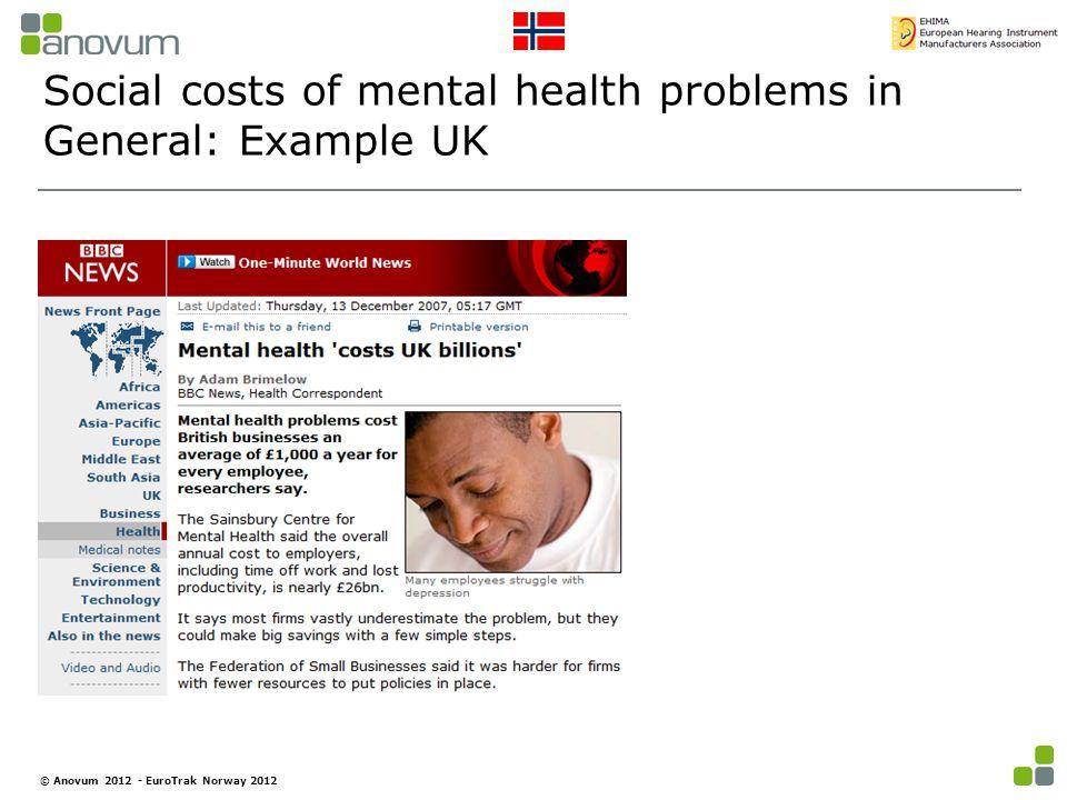 Social costs of mental health problems in General: Example UK © Anovum 2012 - EuroTrak Norway 2012