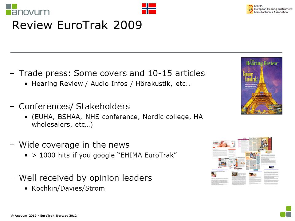 Review EuroTrak 2009 –Trade press: Some covers and 10-15 articles Hearing Review / Audio Infos / Hörakustik, etc..