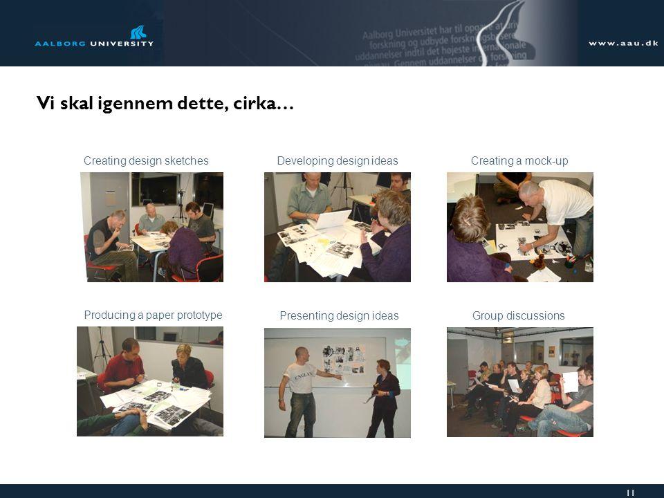 11 Vi skal igennem dette, cirka… Creating design sketchesDeveloping design ideas Producing a paper prototype Presenting design ideasGroup discussions Creating a mock-up
