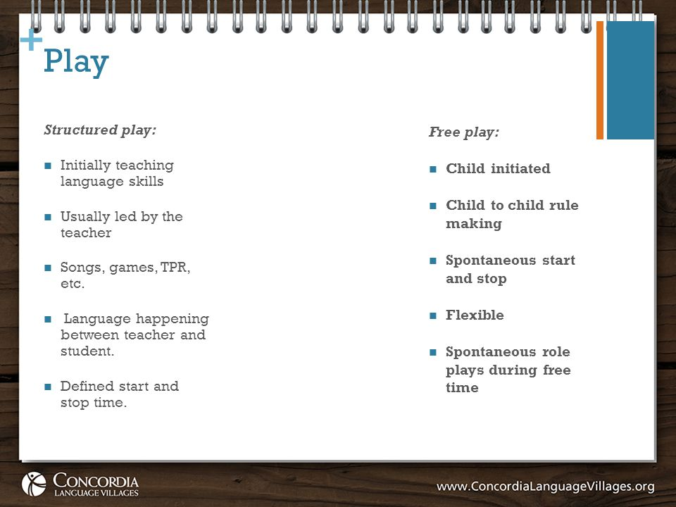 + Play Structured play: Initially teaching language skills Usually led by the teacher Songs, games, TPR, etc.