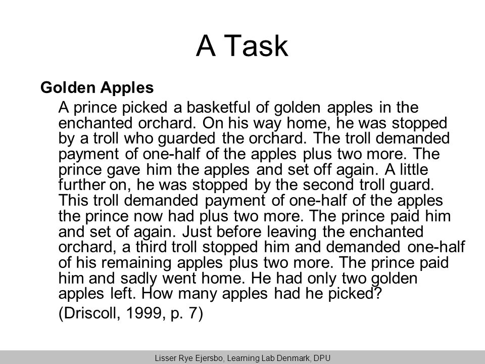 A Task Golden Apples A prince picked a basketful of golden apples in the enchanted orchard.