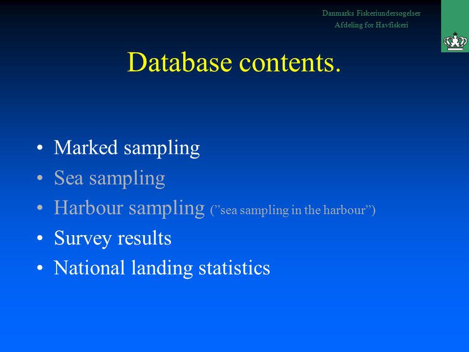Danmarks Fiskeriundersøgelser Afdeling for Havfiskeri Database contents.