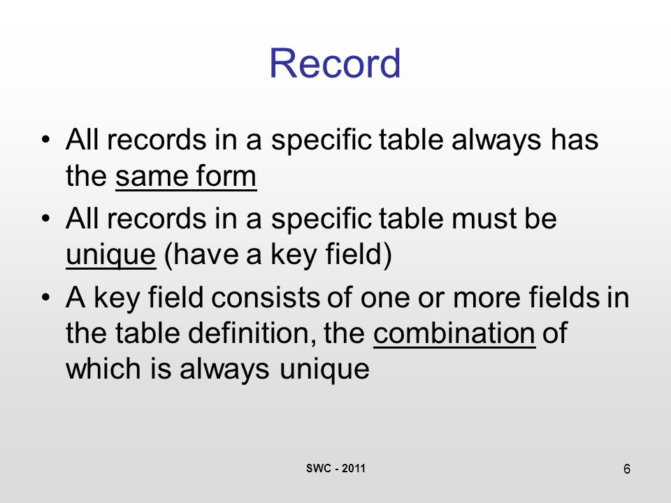 SWC - 2011 6 Record All records in a specific table always has the same form All records in a specific table must be unique (have a key field) A key field consists of one or more fields in the table definition, the combination of which is always unique