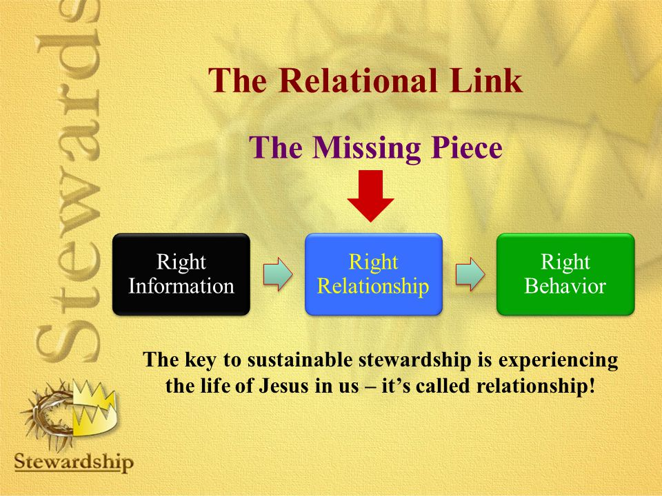 The Missing Piece Right Information Right Relationship Right Behavior The key to sustainable stewardship is experiencing the life of Jesus in us – it'