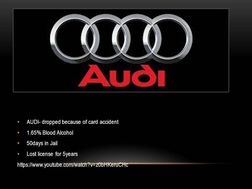 AUDI- dropped because of card accident 1.65% Blood Alcohol 50days in Jail Lost license for 5years https://www.youtube.com/watch v=z0bHKeruCHc