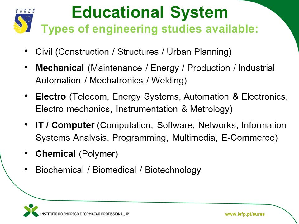 www.iefp.pt/eures Educational System Types of engineering studies available: Civil (Construction / Structures / Urban Planning) Mechanical (Maintenance / Energy / Production / Industrial Automation / Mechatronics / Welding) Electro (Telecom, Energy Systems, Automation & Electronics, Electro-mechanics, Instrumentation & Metrology) IT / Computer (Computation, Software, Networks, Information Systems Analysis, Programming, Multimedia, E-Commerce) Chemical (Polymer) Biochemical / Biomedical / Biotechnology