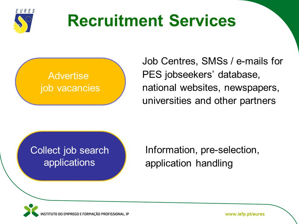 www.iefp.pt/eures Advertise job vacancies Collect job search applications Job Centres, SMSs / e-mails for PES jobseekers' database, national websites, newspapers, universities and other partners Information, pre-selection, application handling Recruitment Services