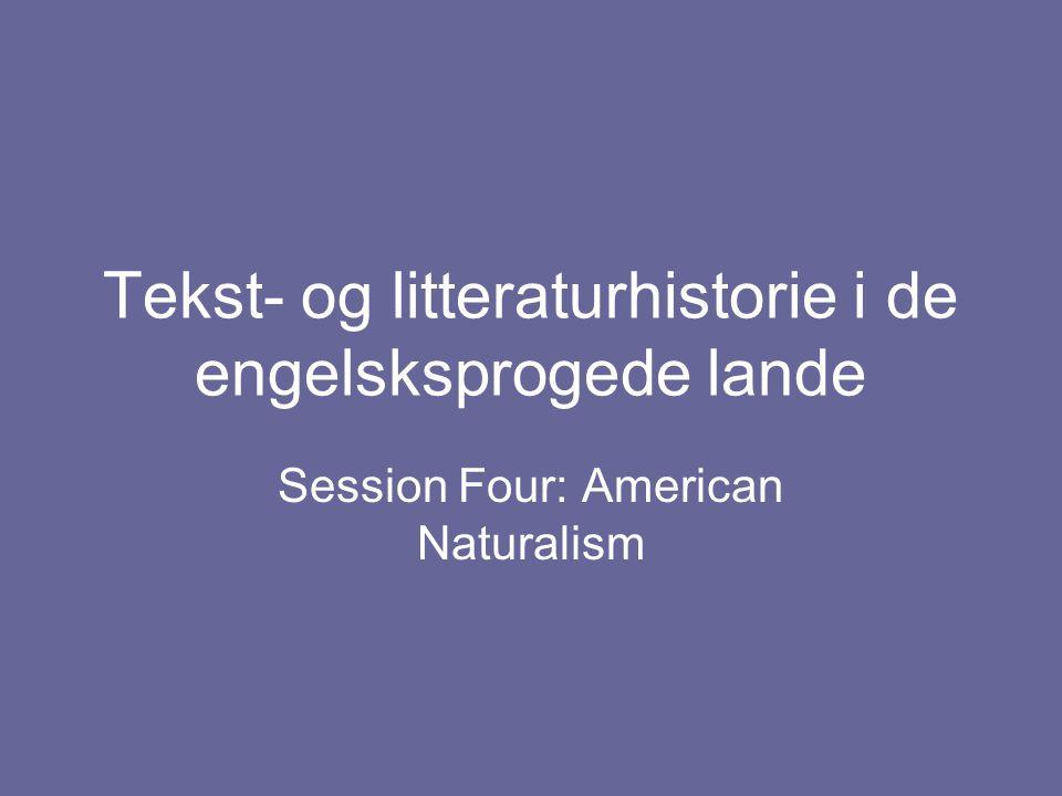 Tekst- og litteraturhistorie i de engelsksprogede lande Session Four: American Naturalism