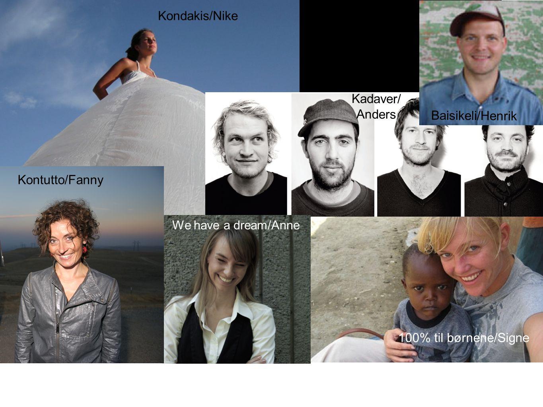 Tekst Kadaver/ Anders Kondakis/Nike We have a dream/Anne Baisikeli/Henrik 100% til børnene/Signe Kontutto/Fanny