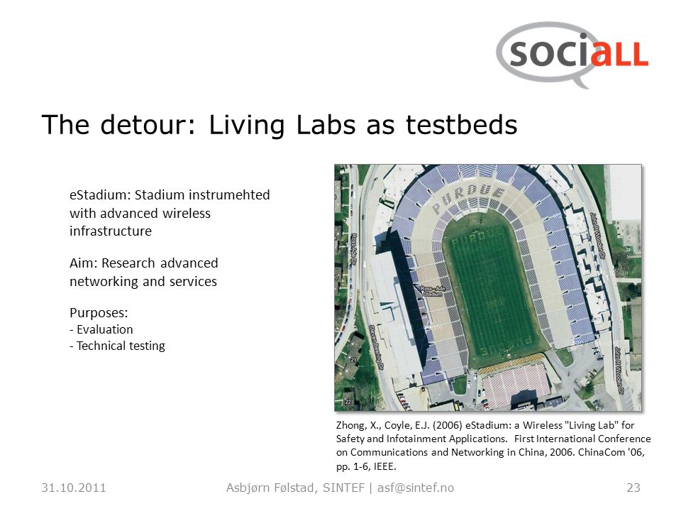 The detour: Living Labs as testbeds 31.10.2011Asbjørn Følstad, SINTEF | asf@sintef.no23 eStadium: Stadium instrumehted with advanced wireless infrastructure Aim: Research advanced networking and services Purposes: - Evaluation - Technical testing Zhong, X., Coyle, E.J.