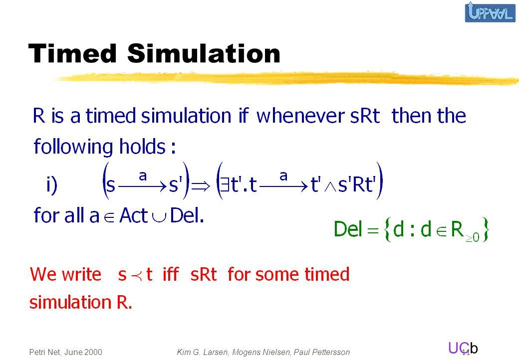 UCb Petri Net, June 2000Kim G. Larsen, Mogens Nielsen, Paul Pettersson 11 Timed Simulation