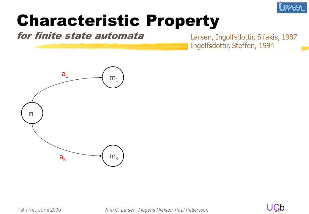 UCb Petri Net, June 2000Kim G. Larsen, Mogens Nielsen, Paul Pettersson 16 Characteristic Property for finite state automata a1a1 akak n m1m1 mkmk Lars