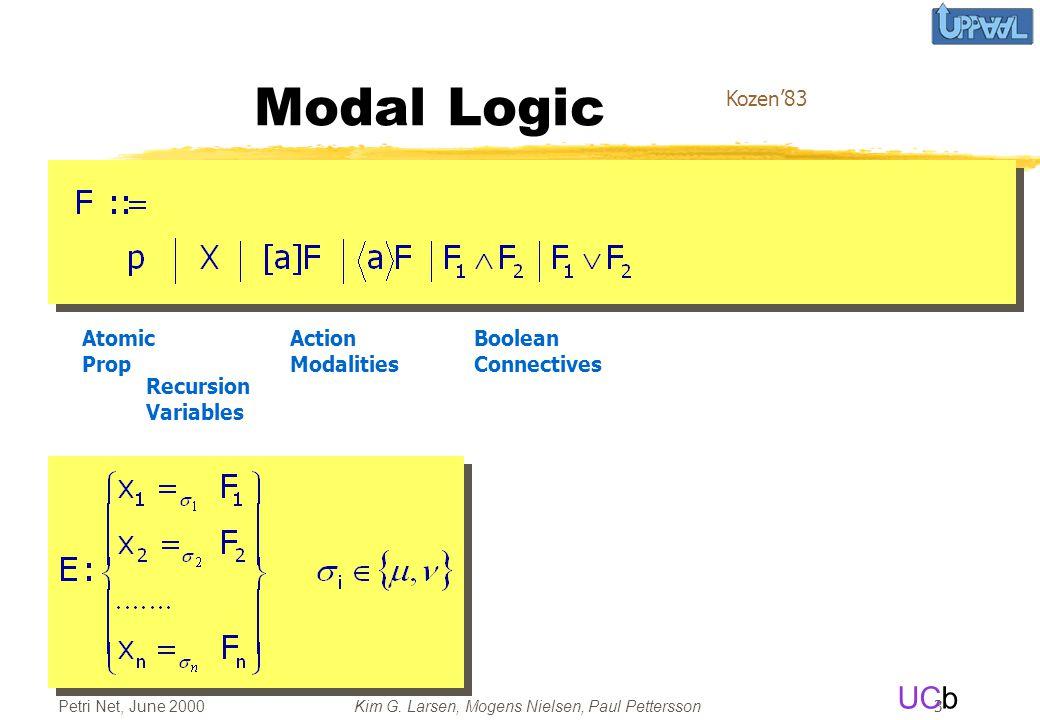 UCb Petri Net, June 2000Kim G. Larsen, Mogens Nielsen, Paul Pettersson 3 Timed Modal Logic Atomic Prop Recursion Variables Action Modalities Boolean C