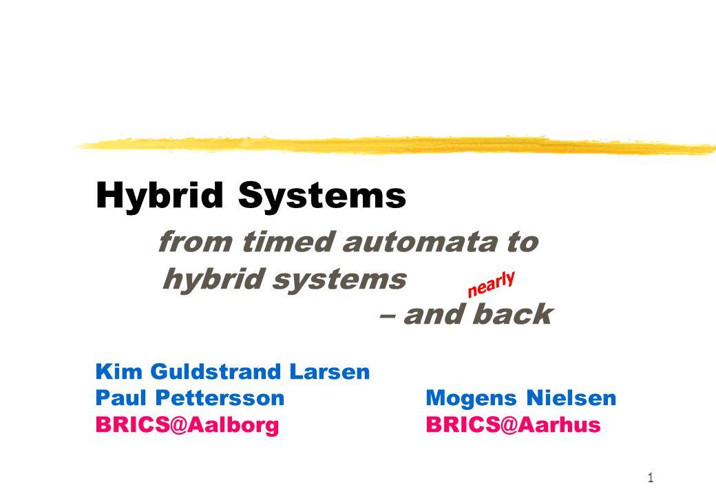 1 Hybrid Systems from timed automata to hybrid systems – and back Kim Guldstrand Larsen Paul PetterssonMogens Nielsen BRICS@Aalborg BRICS@Aarhus nearl
