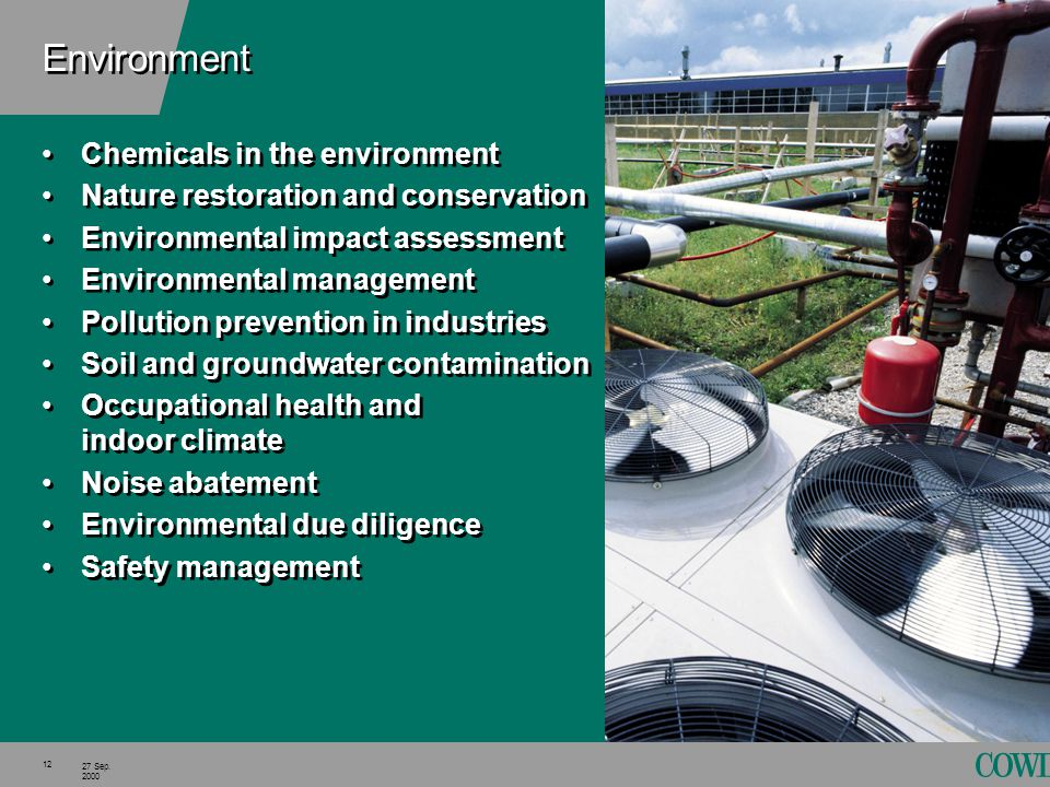 12 27 Sep. 2000 Environment Chemicals in the environment Nature restoration and conservation Environmental impact assessment Environmental management