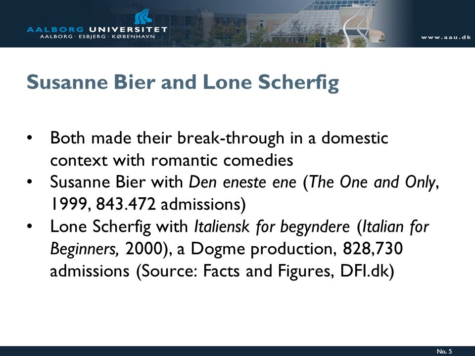 No. 5 Susanne Bier and Lone Scherfig Both made their break-through in a domestic context with romantic comedies Susanne Bier with Den eneste ene (The