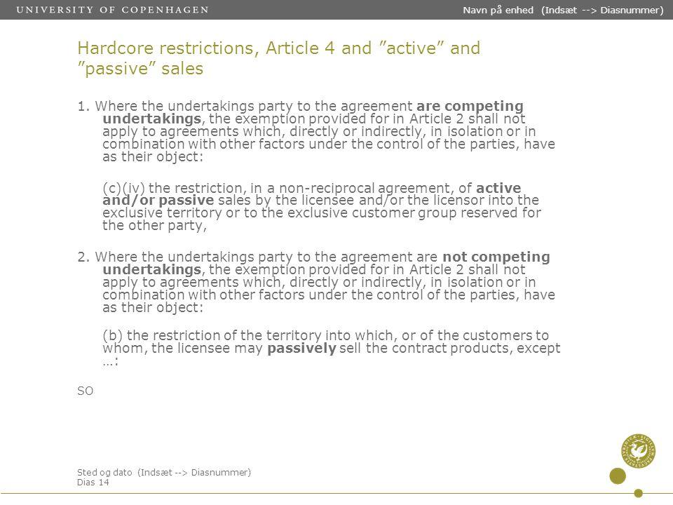 Sted og dato (Indsæt --> Diasnummer) Dias 14 Navn på enhed (Indsæt --> Diasnummer) Hardcore restrictions, Article 4 and active and passive sales 1.
