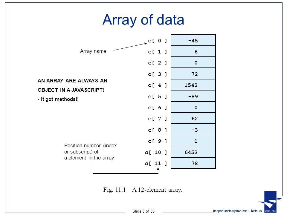Ingeniørhøjskolen i Århus Slide 4 of 38 Array object and its methods Array constructor –var arr1 = new Array(25); –var arr2 = new Array('first', '2.', '3', 'n…); –var value = arr2[1]; (index starts at 0) –value of value becomes '2.' –Expansion Dynamic– arr2[arr2.length] = 'New element'; –Dynamic expansion needs more operations.