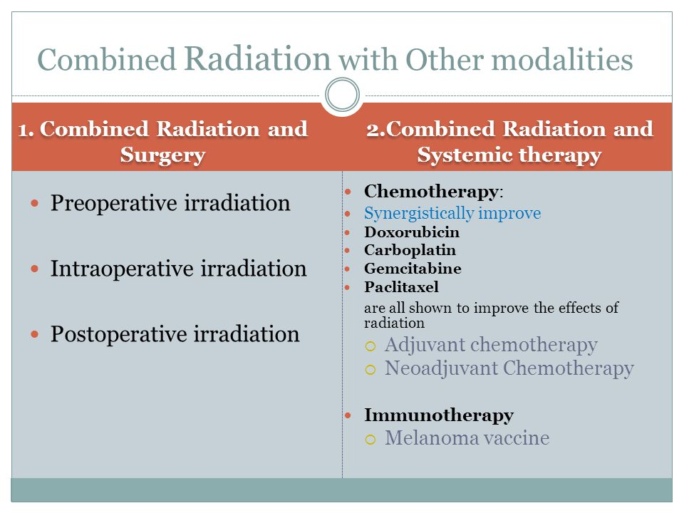 1. Combined Radiation and Surgery 2.Combined Radiation and Systemic therapy Preoperative irradiation Intraoperative irradiation Postoperative irradiat