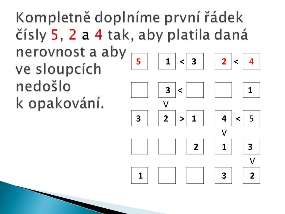 5 1 <3 2< 4 3< 1 V 3 2 >1 4 <5 V 2 1 3 V 1 3 2