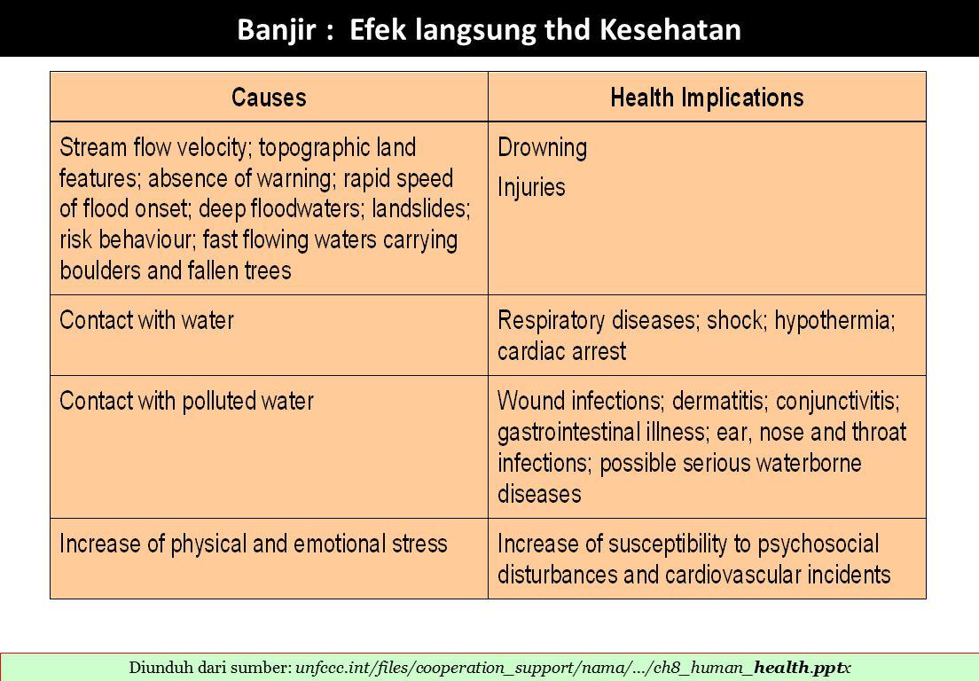 Banjir : Efek langsung thd Kesehatan Diunduh dari sumber: unfccc.int/files/cooperation_support/nama/.../ch8_human_health.pptx 