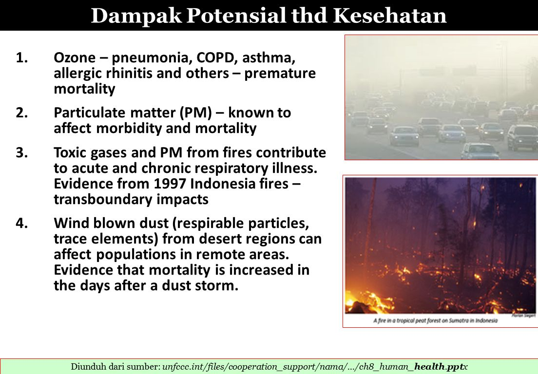 Dampak Potensial thd Kesehatan 1. Ozone – pneumonia, COPD, asthma,allergic rhinitis and others – prematuremortality 2. Particulate matter (PM) – known