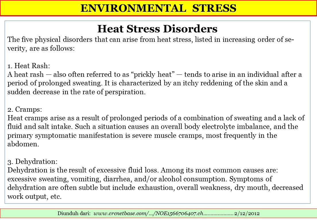 ENVIRONMENTAL STRESS Diunduh dari: www.crcnetbase.com/.../NOE1566706407.ch...……………… 2/12/2012 Heat Stress Disorders The five physical disorders that can arise from heat stress, listed in increasing order of se- verity, are as follows: 1.