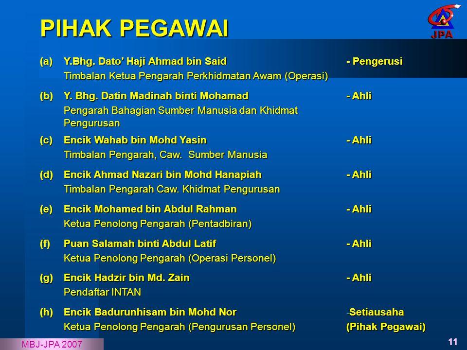 11 MBJ-JPA 2007 (a) Y.Bhg. Dato' Haji Ahmad bin Said Timbalan Ketua Pengarah Perkhidmatan Awam (Operasi) - Pengerusi (b) Y. Bhg. Datin Madinah binti M