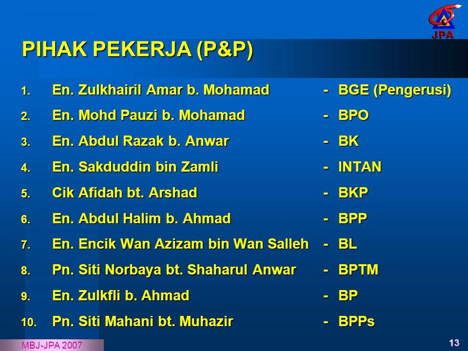 13 MBJ-JPA 2007 PIHAK PEKERJA (P&P) 1. En. Zulkhairil Amar b. Mohamad- BGE (Pengerusi) 2. En. Mohd Pauzi b. Mohamad- BPO 3. En. Abdul Razak b. Anwar-