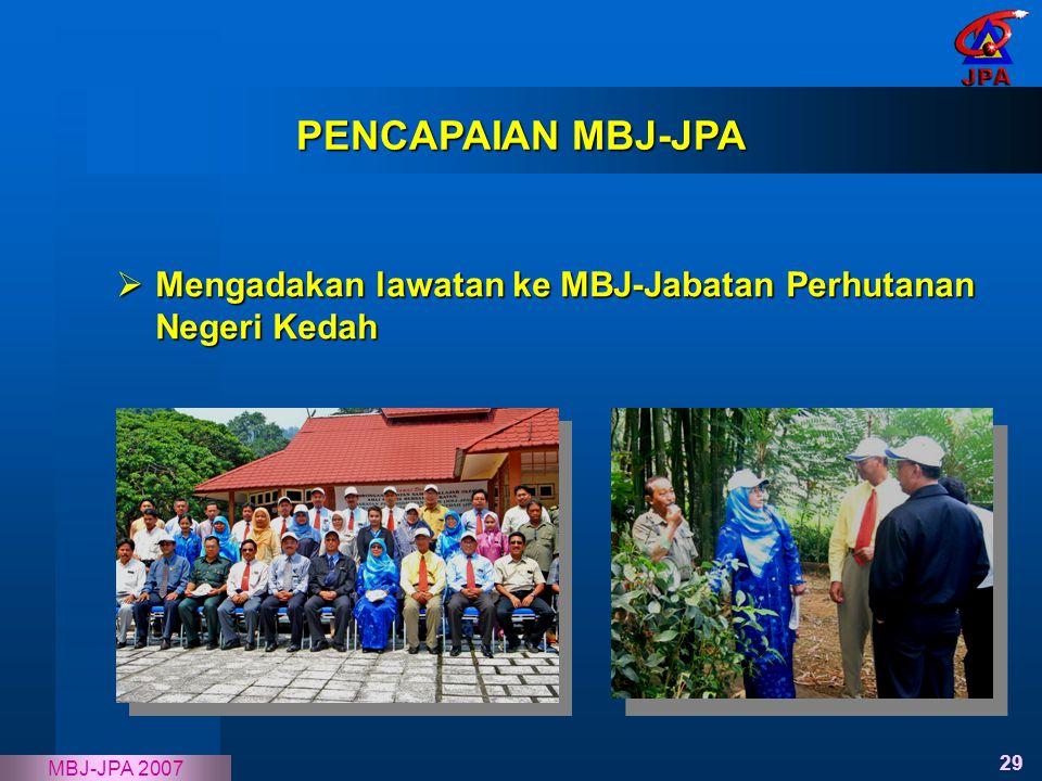 29 MBJ-JPA 2007  Mengadakan lawatan ke MBJ-Jabatan Perhutanan Negeri Kedah PENCAPAIAN MBJ-JPA